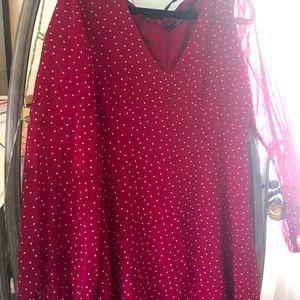 Stella Hail spot Crimson dress